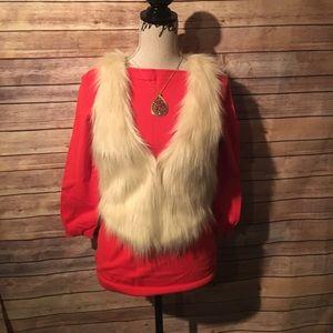 Cream faux fur vest